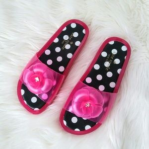 Kate Spade platform splash pink jelly slides